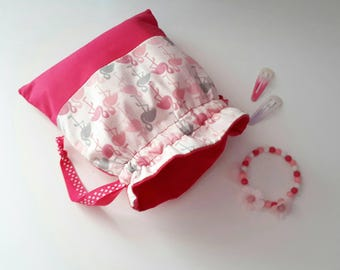 Purse personalized name or text of choice, pink flamingos. In stock.