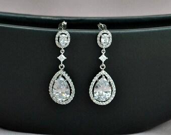 Bridal crystal earrings, long bridal earrings, silver bridal jewelry, luxury bridal earrings, wedding jewelry