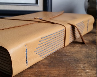 Large Leather Journal, Ochre Yellow Hand-Bound 6 x 9 Journal by The Orange Windmill on Etsy 1823