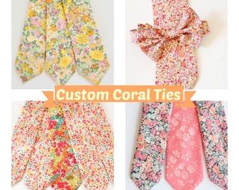 Coral Wedding Ties, Groomsmen Tie Set, Custom wedding ties, custom coral tie, Liberty of London tie, coral liberty of london necktie, blush