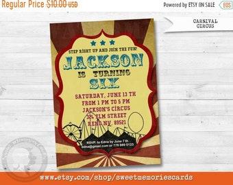 ON SALE Circus Invitations, Circus Birthday Invitation, Carnival Invitation, Carnival Birthday Invitation, CIRCUS Vintage