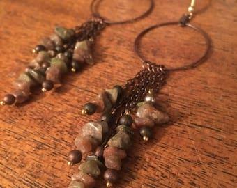 Unakite dangle cluster hoop earrings