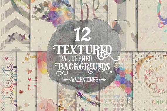 Digital Paper Pack, Layered Valentines Day Hearts, 12 x 12 for Background, Scrapbooking, Instant download