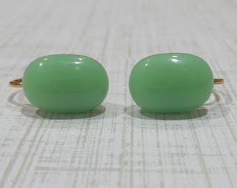 Mint Green Clip on Earrings, Pastel Green Clip Earrings, Non Pierced Earings, Fused Glass Jewelry - Kelsey -7