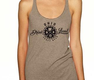 Craft Beer Shirt- Drink Local Ohio women's tank top