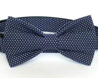 SALE Navy Pin Dot Dog Collar Bow Tie set, pet bow tie, collar bow tie, wedding bow tie, pet photography