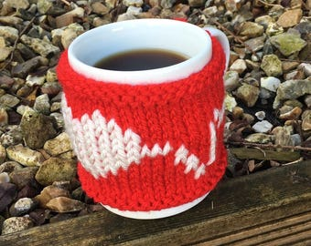 Hand-made Mug Cosy/Mug Warmer 'Love Line'