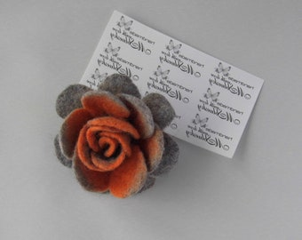 Grey - orange Rose FLOWER handfelted wool brooch Statement Gift Wife - Ready to Ship Now - Gift under 25 USD