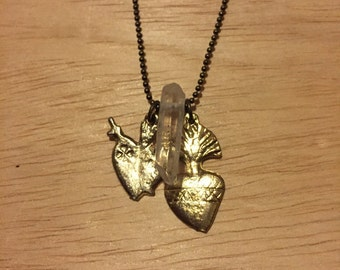 Clear Quartz Crystal Point with Brass Heart Milagro Necklace