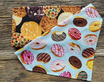 Donut Dog bandana, cookies, donuts, slide over the collar reversible