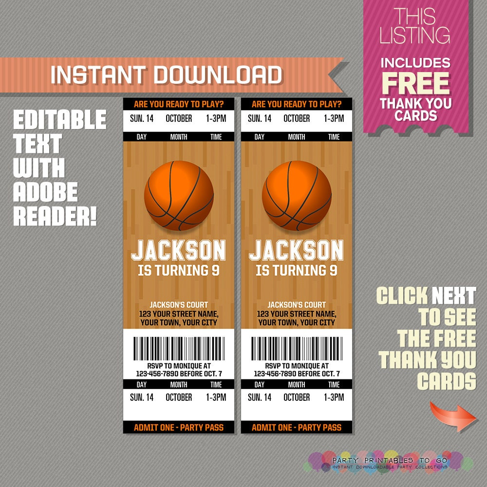 Basketball ticket invitation with free thank you card zoom monicamarmolfo Images