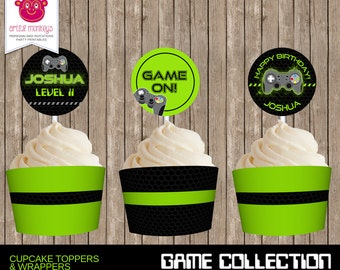 Printable Video Game Party Cupcake Toppers and Wrappers   Personalized