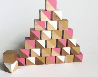 wooden baby blocks, pink and gold colors, all natural, non toxic - set of 30 - baby shower, birthday, christmas gify, toddler toy,baby gift