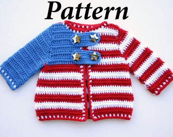 Baby jacket PDF crochet PATTERN patriotic cardigan 0-24 month summer sweater boy girl infant red white blue clothing stripes stars USA flag