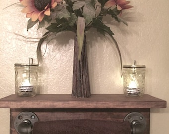 Industrial rustic towel bar shelf