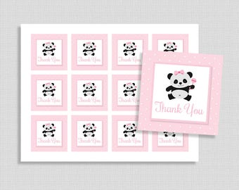 Panda Favor Tags, Pink Panda Thank You Party Favor Tags, Baby Girl Shower, INSTANT PRINTABLE