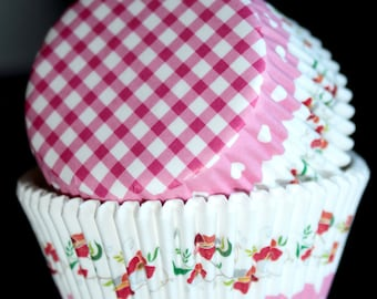 Pink Floral Cupcake Papers