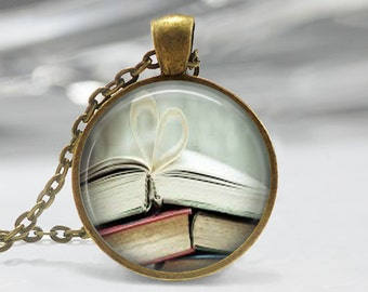 Book Page Necklace Librarian Jewelry Bibliophile Book Lover Art Pendant in Bronze or Silver with Link Chain Included