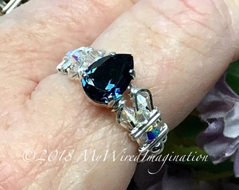 Montana Sapphire Blue, Vintage Swarovski Crystal Hand Crafted Ring Wire Wrapped Ring, Unique Engagement Anniversary, Dark London Topaz Blue