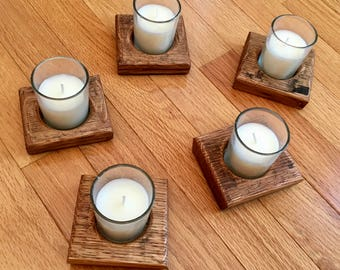 Whiskey Barrel Stave Candle Holder (One Votive)