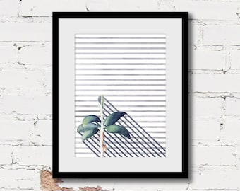 tropical botanical art print, modern bohemian art, navy blue art print, tropical foliage art, geometric modern art, blue green wall art
