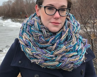 Blue, Purple, and Gold Infinity Arm Knit Scarf