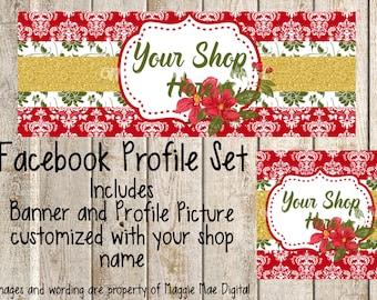 Christmas Facebook Set, Facebook banner, Facebook graphics, Facebook cover photo, store graphics, timeline set, Red Damask, green flowers