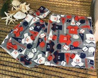 Designer Football burp cloth, wash cloth and receiving blanket ensemble, set, baby gift, baby shower gift, newborn, infant
