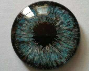 Blue Hand Painted Glass Eye 20 mm Round Glass Eye Fantasy Jewelry Supplies Fastasy Steampunk Sci Fi Cosplay Pendant