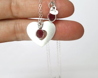 Mother Daughter Jewelry, Heart Necklace, Engraved Necklace