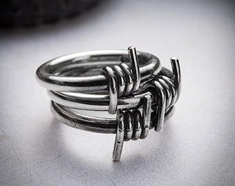 SALE- BARBWIRE silver stackable ring