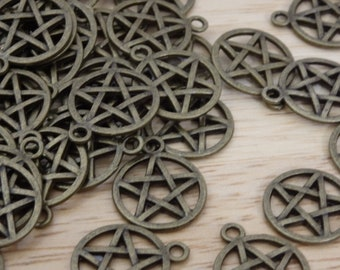 Pentagram Charms, Silver Bronze Tone 20mm (pagan, wiccan, witch, witchy, goth, pentacle pendant star gothic alchemy )