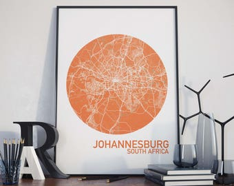 Johannesburg, South Africa City Map Print