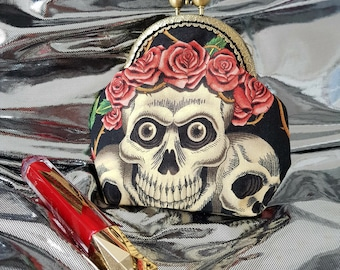 Rockabilly Kiss Lock Coin Purse, Make-up Bag, Gothic Skull&Rose Tattoo, Vintage Metal Bronze Frame, Pin-up Girl