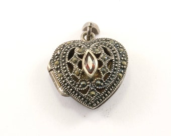 Vintage Heart Shaped Locket Filigree With Red Crystal & Marcasite Pendant 925 Sterling PD 212-E