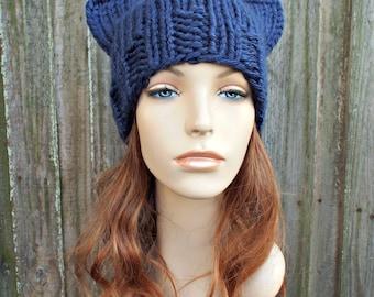 Knit Hat Womens Hat - Cat Beanie Hat in Navy Blue Knit Hat - Blue Hat Blue Beanie Navy Hat Navy Beanie Winter Hat - Acrylic Hat