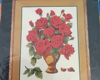 VINTAGE COUNTRY ROSES Counted Cross Stitch Kit  by Dale Burdett of Burdett Publications California