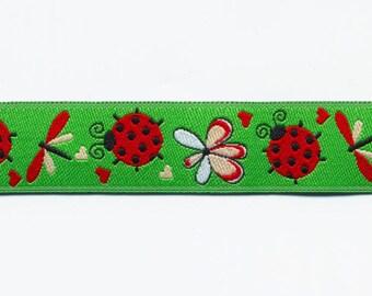 Green Ladybug Ribbon by the meter, fancy woven jacquard Ribbon