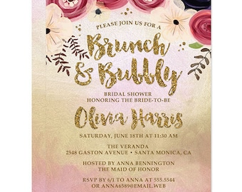 Bridal Shower Invitations - Gold and Pink Brunch & Bubbly- Printed Bridal Shower Invitations - Watercolor Floral