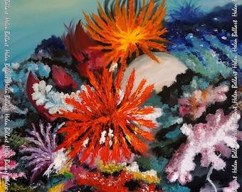 Colorful corals silk scarf