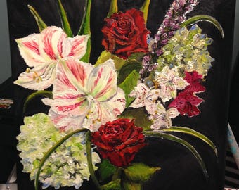 Original Still life Oil Painting on 12 by 12 Canvas of flowers