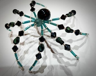 Teal and Black Christmas Spider decoration comes with the story, Legend of the Christmas Spider.