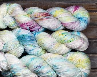 "Sock Yarn - ""Confetti"" - Merino / Nylon - Hand Dyed -  100g"