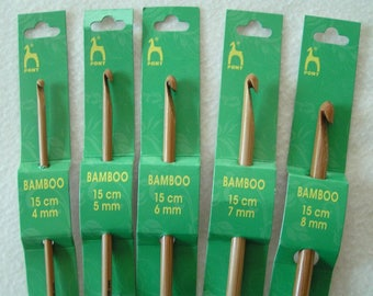 Crochet hook Bamboo wood hook from Pony 4mm 5mm 6mm 7mm 8mm