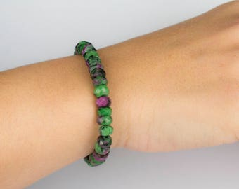 Beautiful Faceted Ruby Zoisite Bracelet