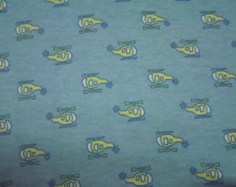 Organic Cotton Winged Prefold-- Yellow Helicopters on Blue Cloth Diaper Sized