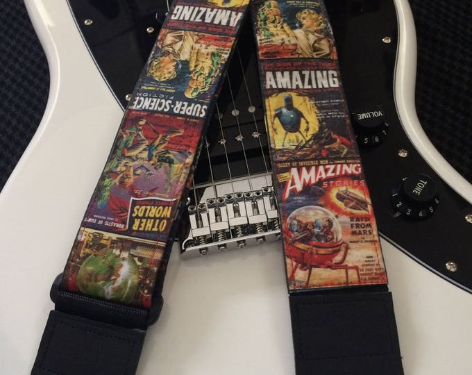 Sci-fi guitar strap handmade // Super Science Fiction vintage magazine and others // retro cyberpunk steampunk // cool guitar straps