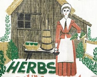 Vintage Kitchen Tea Towel Herb Garden Robert Darr Wert Country Prints Wall Hanging Pilgrim Plantation