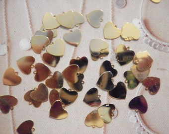 36 Goldplated 10mm Heart Charms