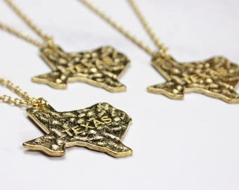 Gold Texas Necklace, Texas Shape Necklace, Texas Pendant, State of Texas Necklace, State, Texas Map, Texas Jewelry